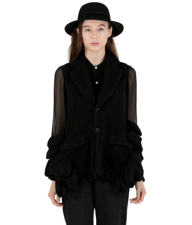 Black Wool Felt Vest Jacket