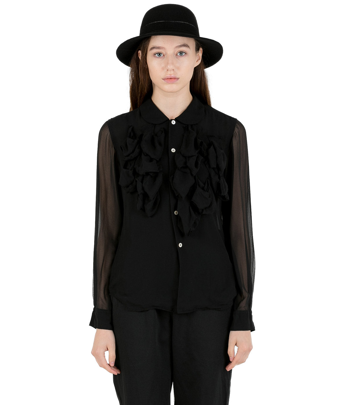 Black Cutout Panelled Shirt