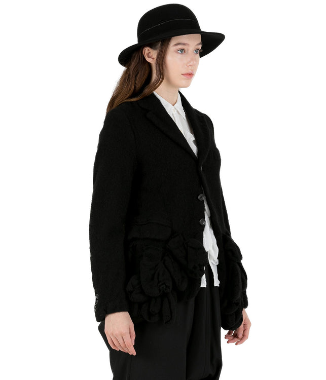 Black Ruffled Front Wool Jacket