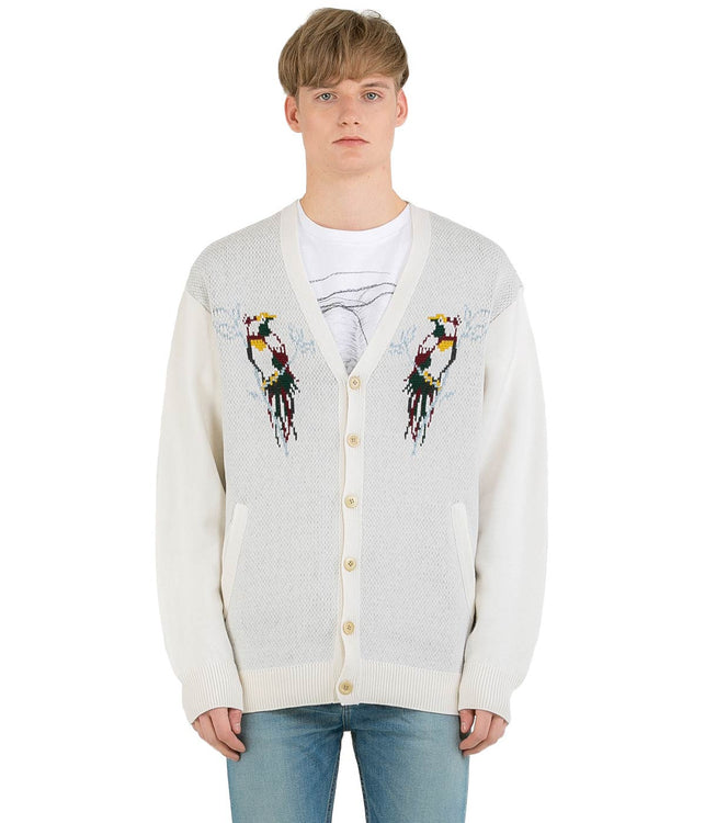 White Graphic Wool Cardigan