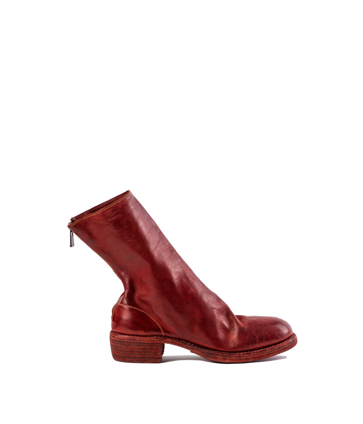 Red Full Grain Zip-Up Boots