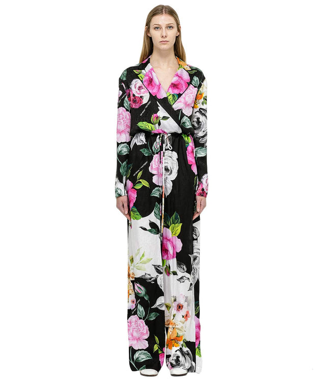 Black Floral Silk Jumpsuit