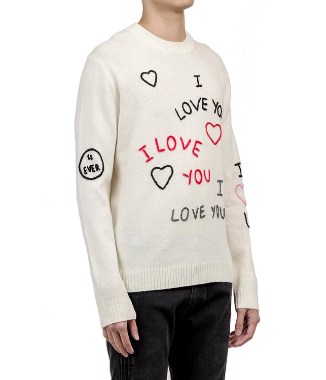 White Love Embroidered Wool Sweater