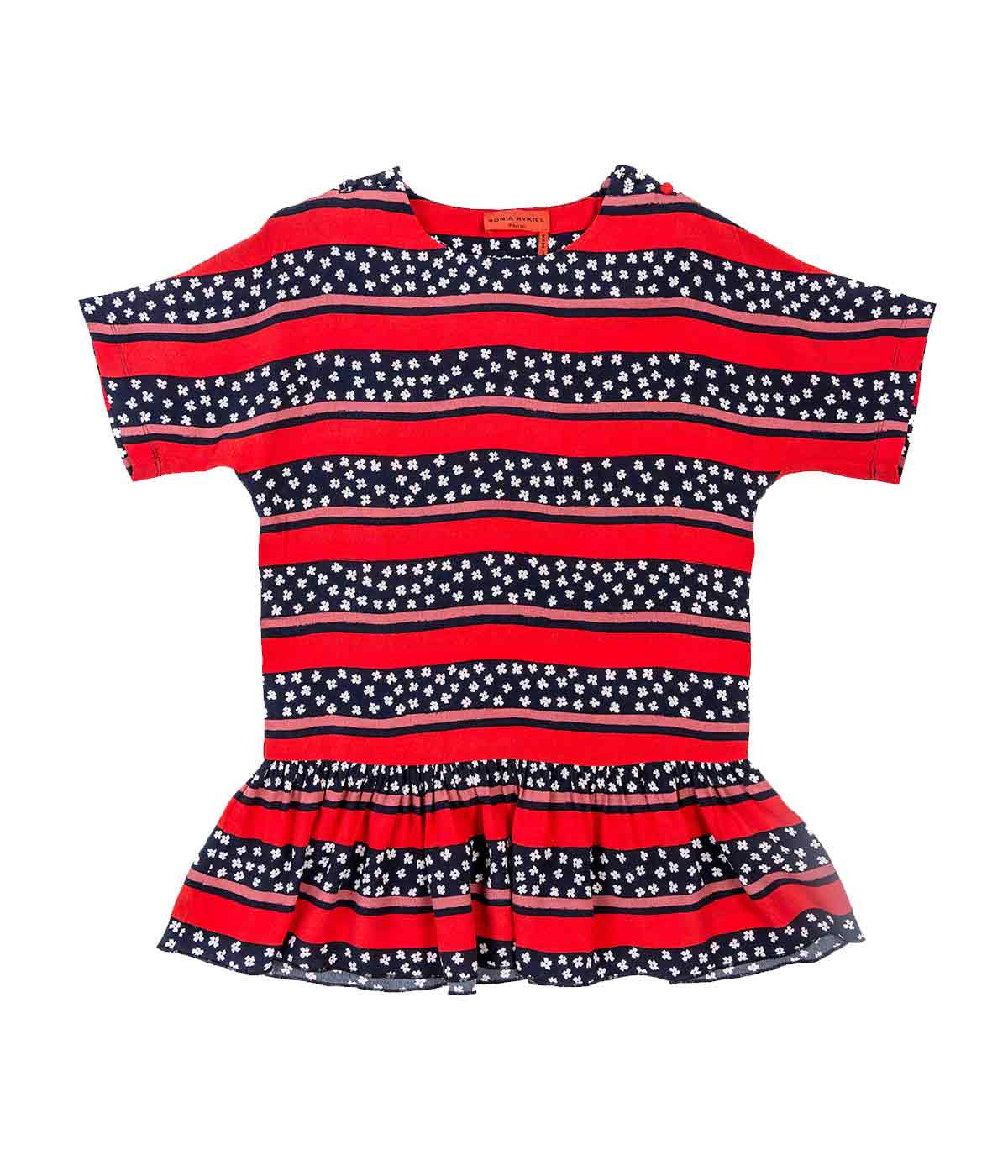 Kids Printed Flower And Stripe Viscose Dress