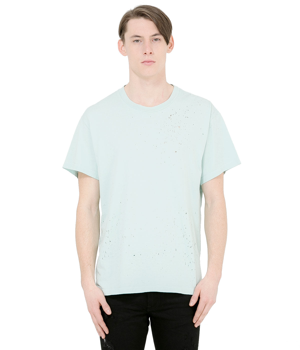 Light Blue Shotgun Distressed T-Shirt