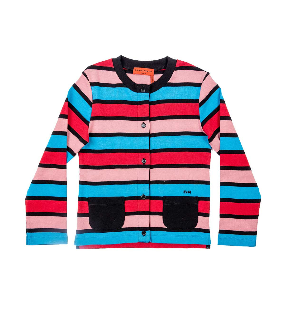 Baby Striped Jersey Sweater With Black Pockets