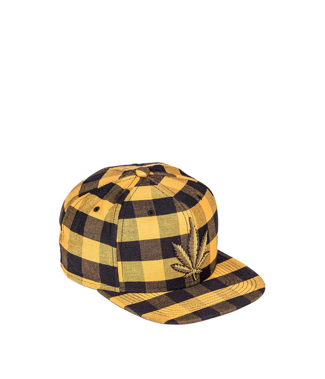 Black Gold Checked Leaf Cap