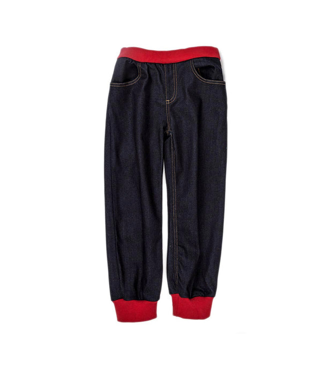 Kids Stretch Denim Pants With Red Contrasted Cotton Ribbing Finishing At Bottom