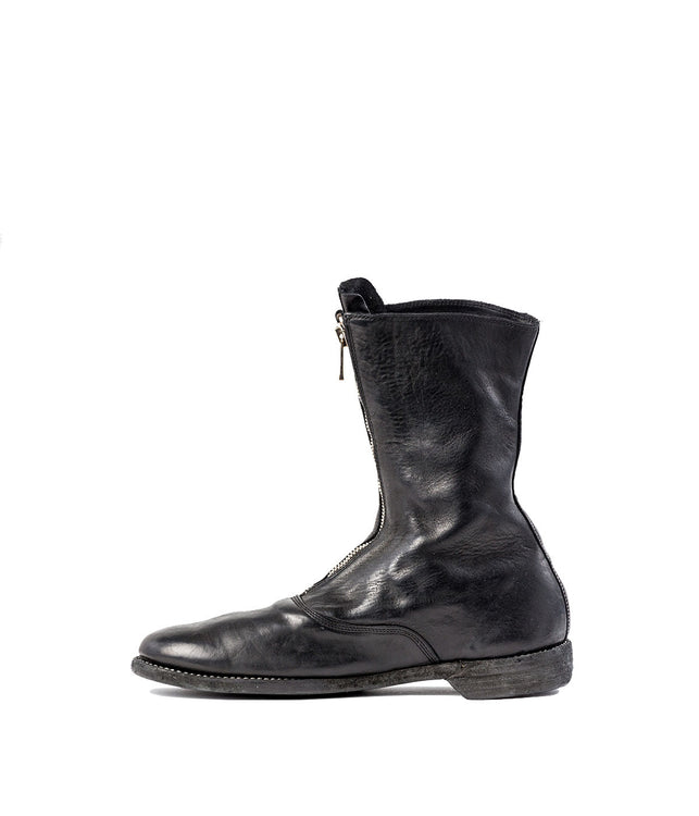 Black Full Grain Zip-Up Army Boots