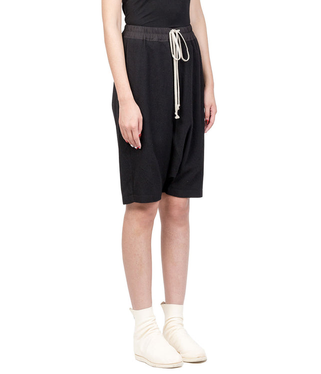 Black Wool Pod Shorts