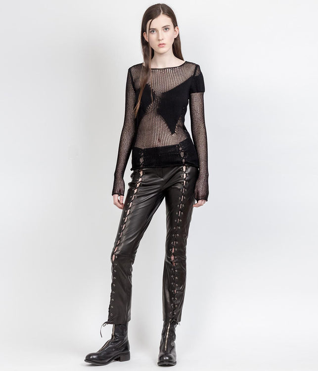 Black Lamb Leather Pants