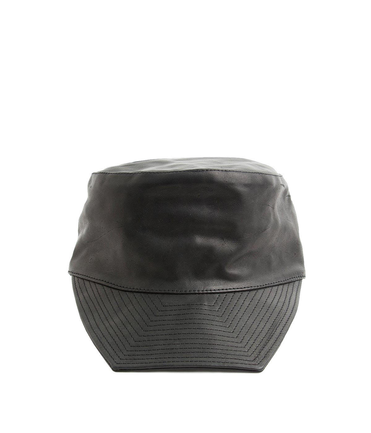 Black Kangaroo Leather Cap
