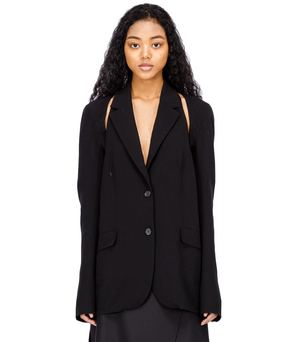 Black Wool Cut Out Blazer