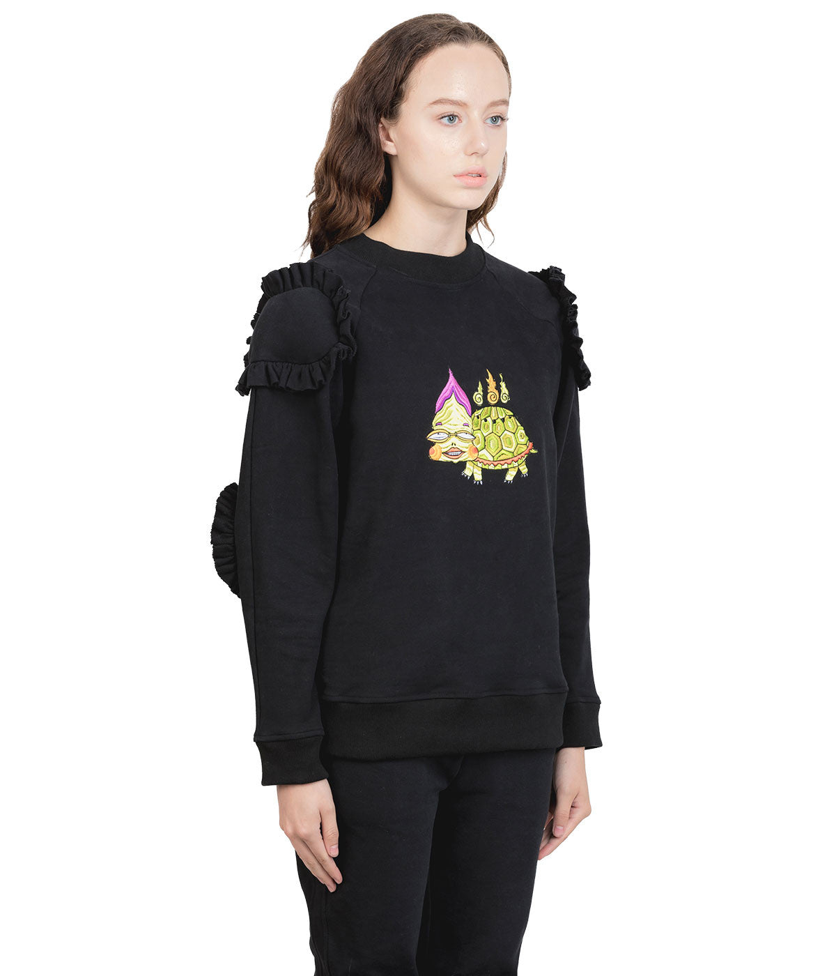 Black Ruffle Cushioned Turtle Sweatshirt