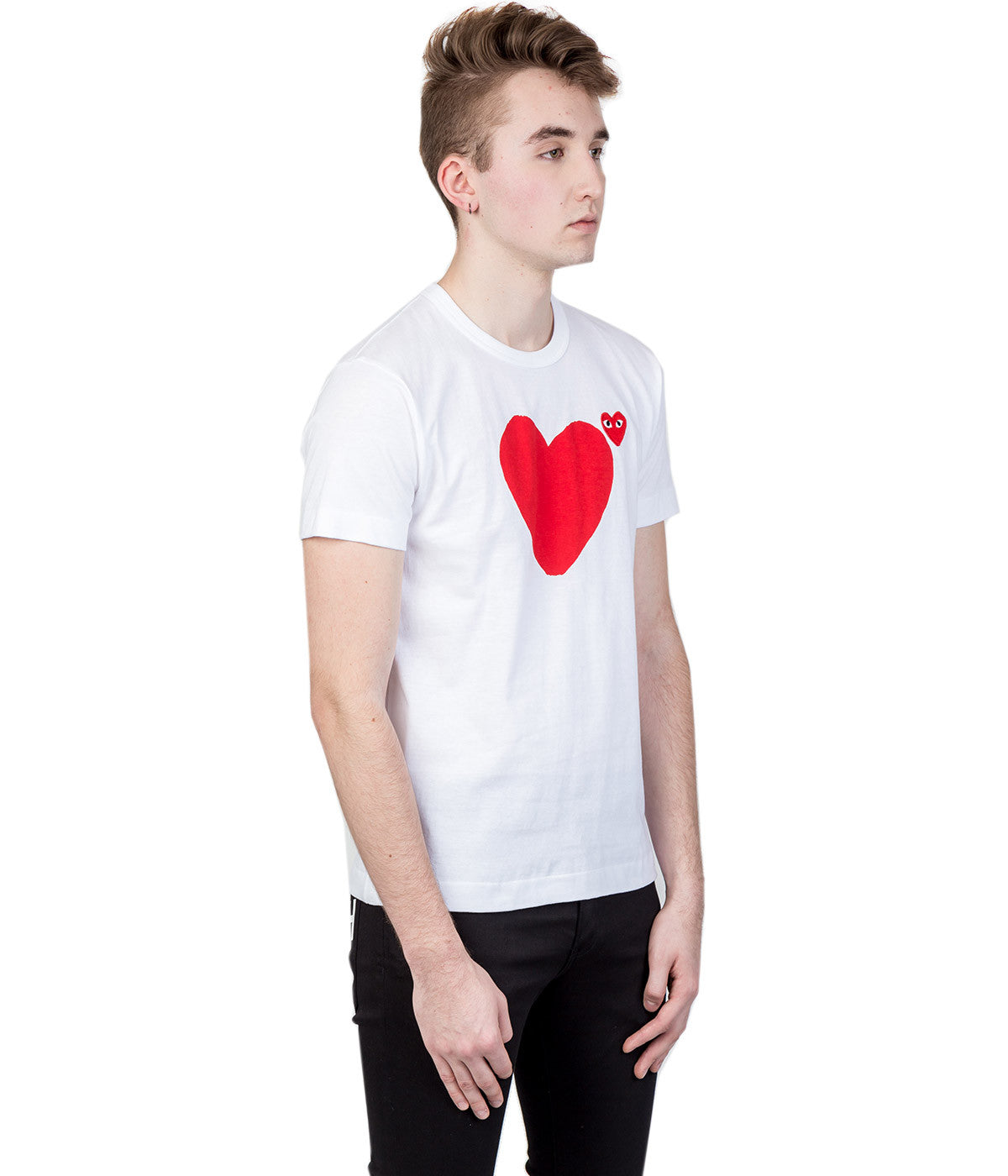 White Red Double Hearts T-shirt