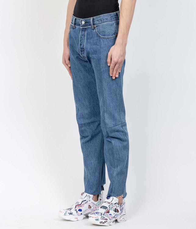 Blue Asymmetrical Denim Jeans