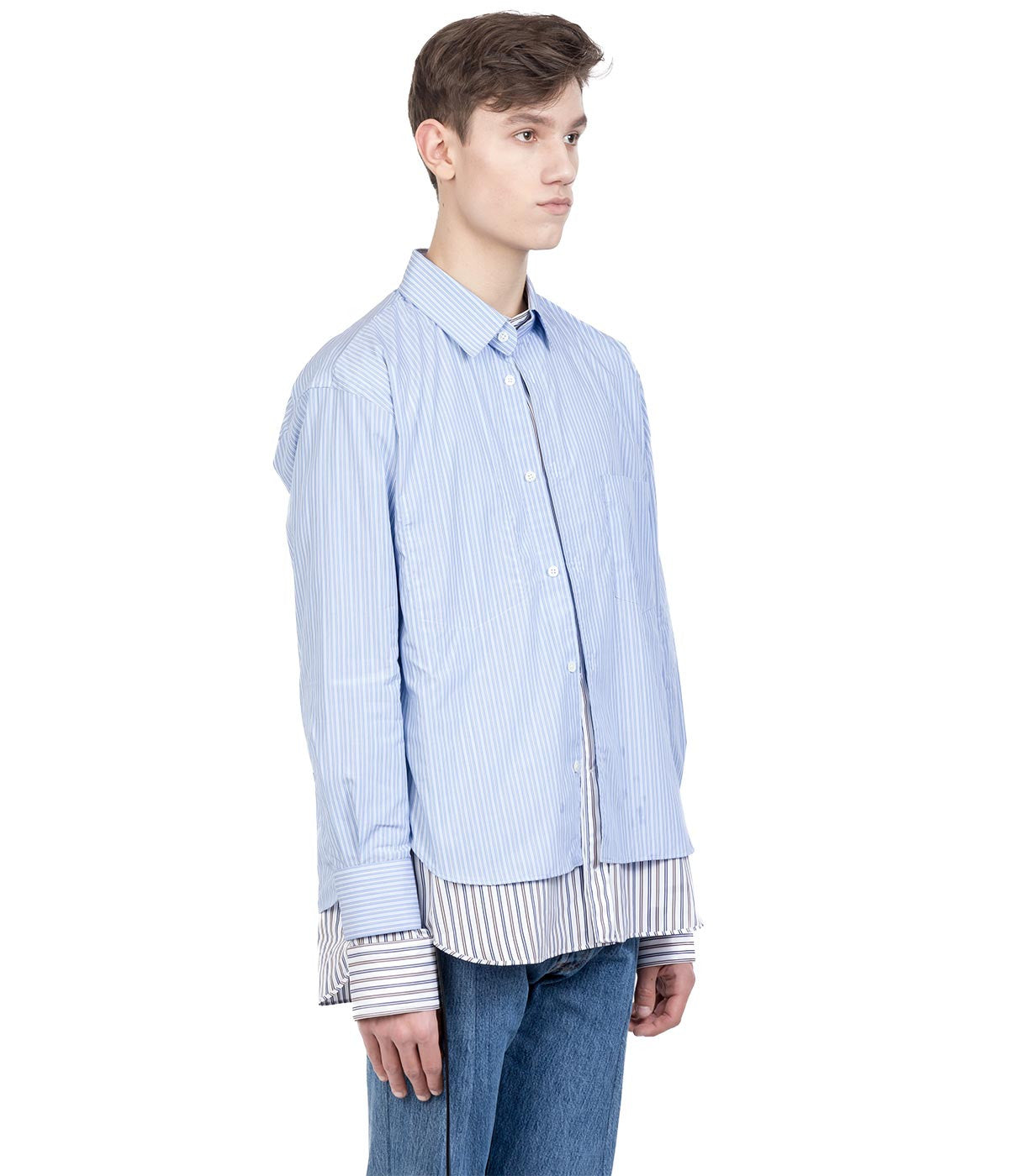 Light Blue Striped Bonded Shirt