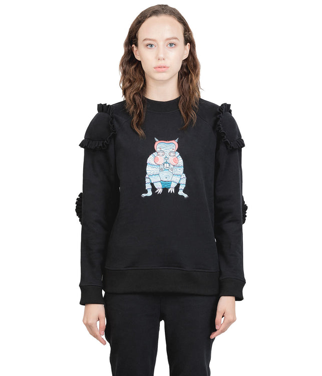Black Ruffle Cushioned Monster Sweatshirt