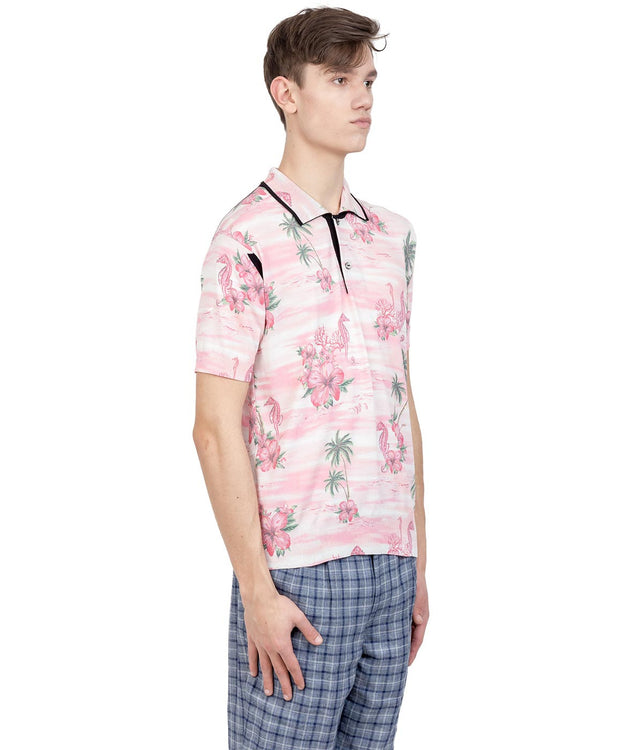 Pink Hawaiian Polo T-Shirt