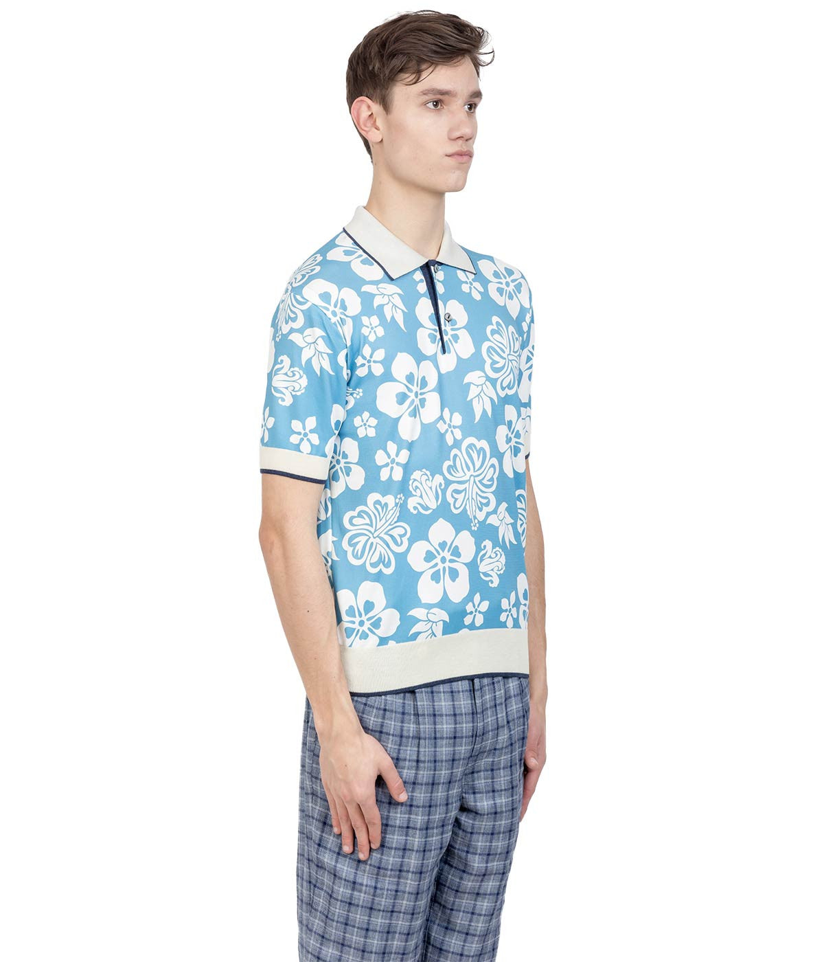 Light Blue Hawaiian Polo T-Shirt