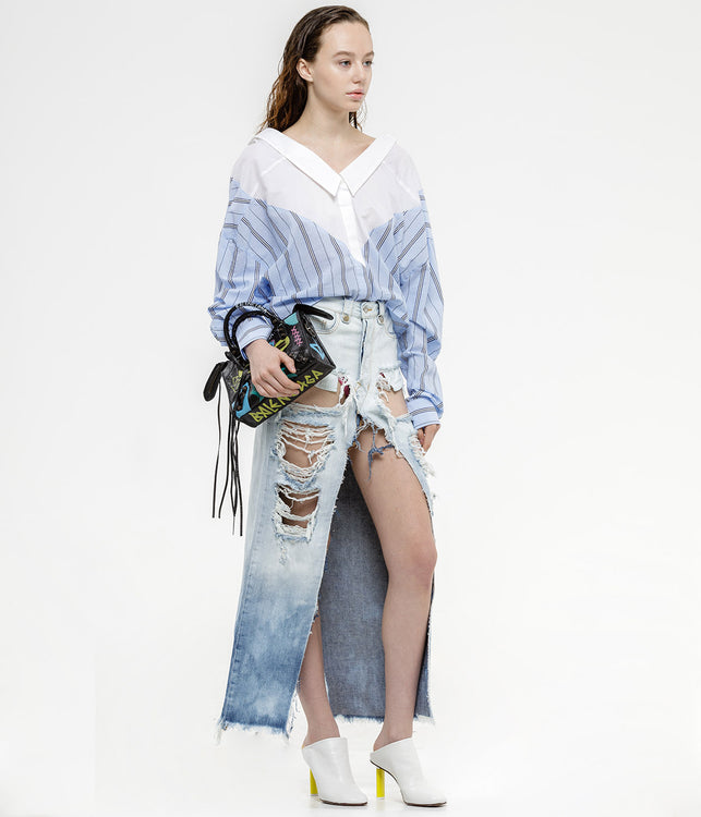 Blue Deconstructed Skirt
