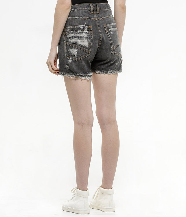 Black Deconstructed Denim Shorts