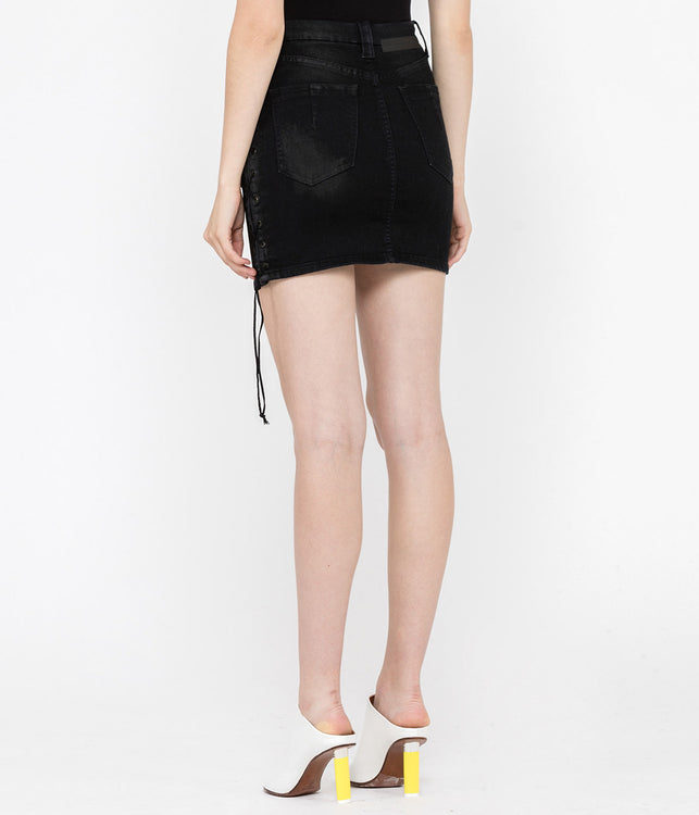 Black Waxed Denim Lace-Up Skirt