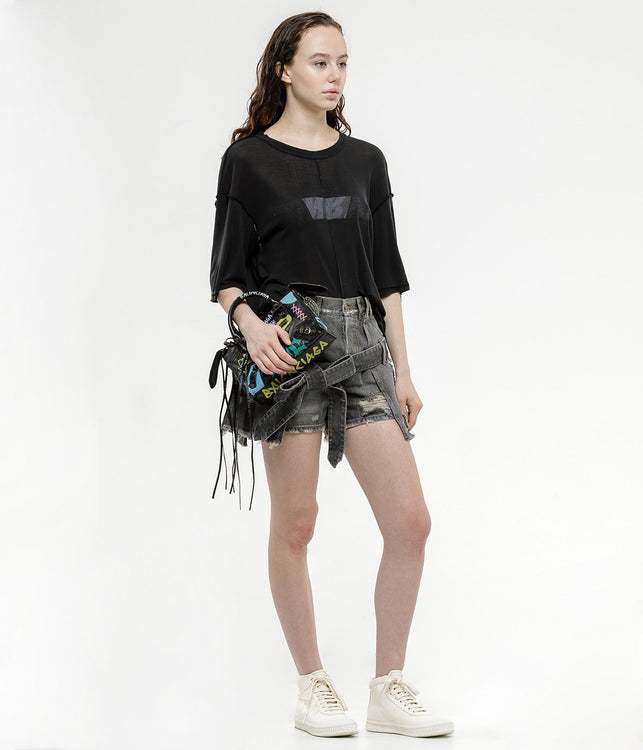 Black Deconstructed Denim Skirt