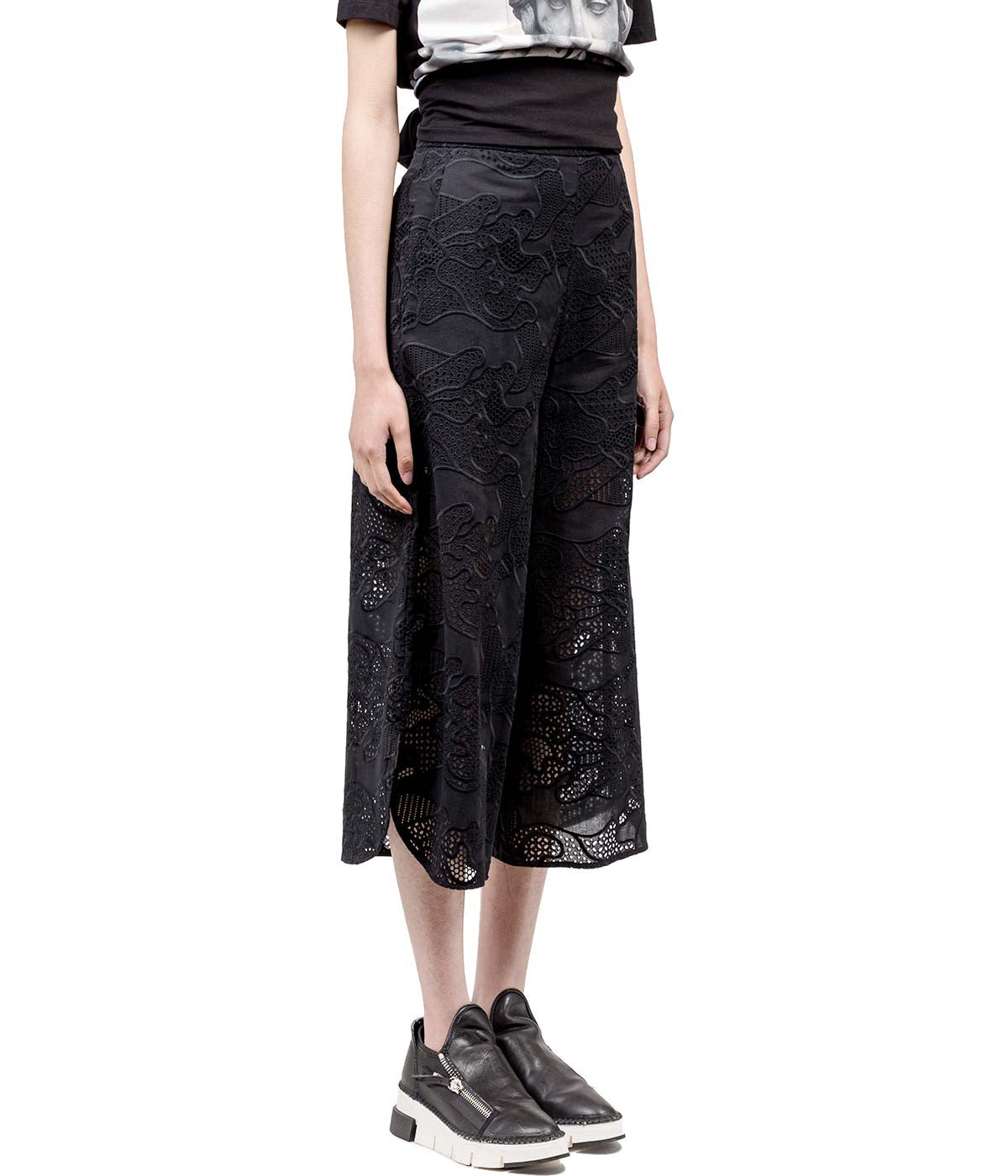 Black Crochet Camouflage Culottes