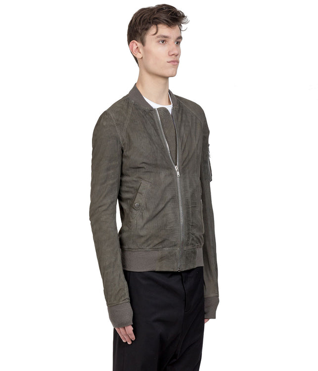 Khaki Green Distressed Suede Bomber Jacket