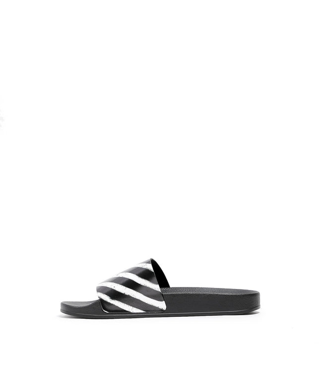 Black Rubber Slip-On Sandals