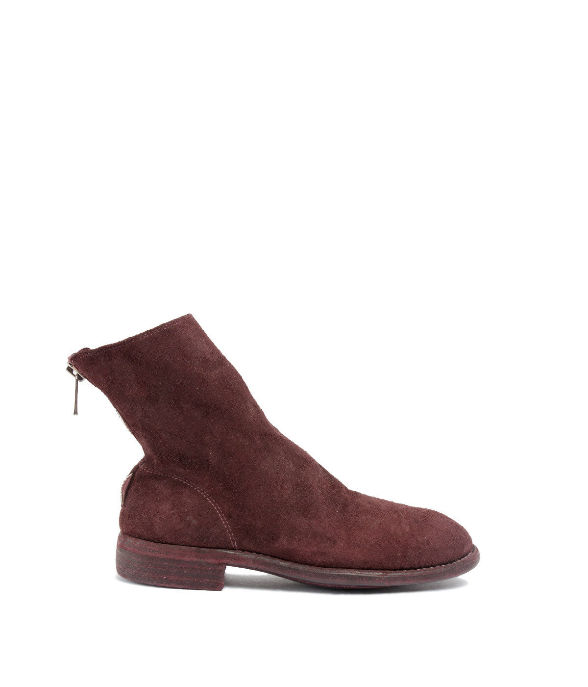 Back Zip Burgundy Suede Ankle Boots
