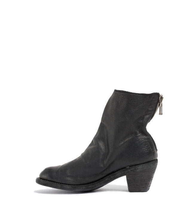 Black Back Zip Ankle Boots