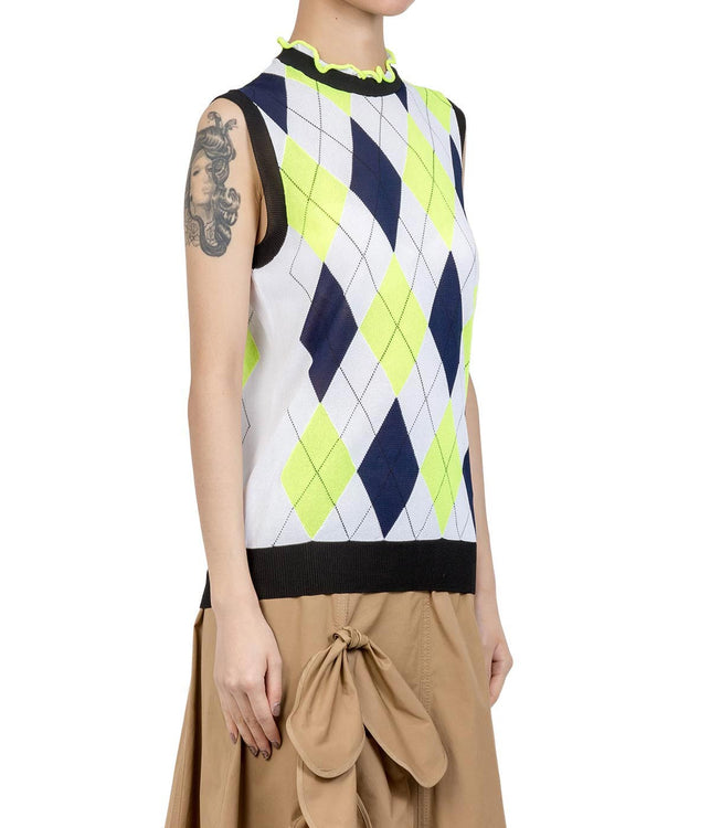 White Argyle Vest Sweater