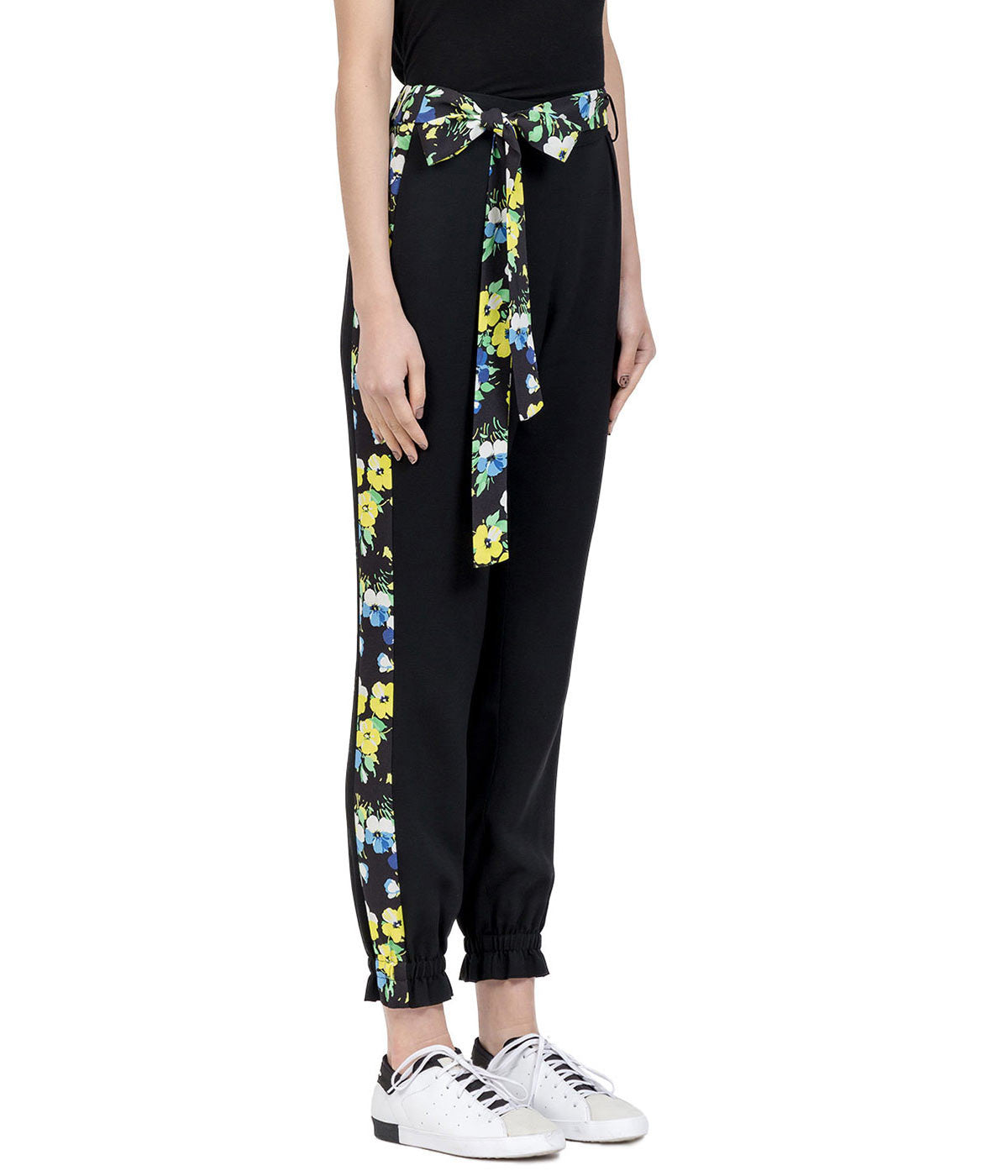 Black Floral Crepe Pants