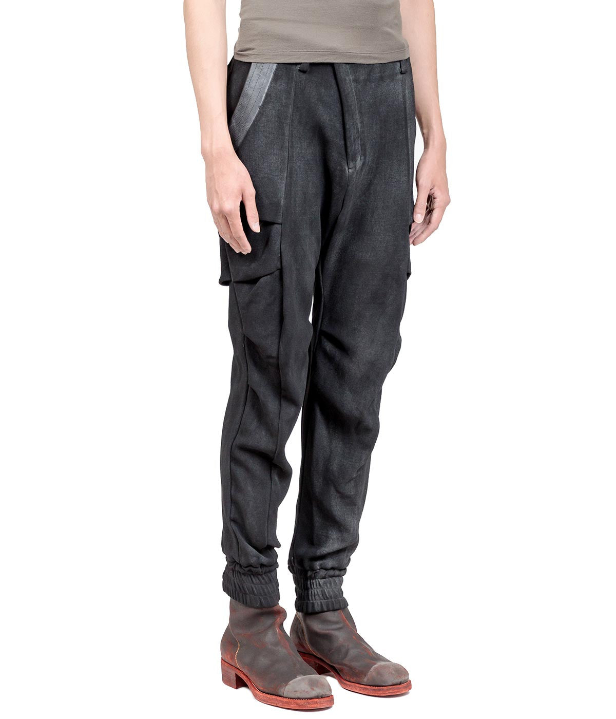 Black Stone Coated Loose Pants