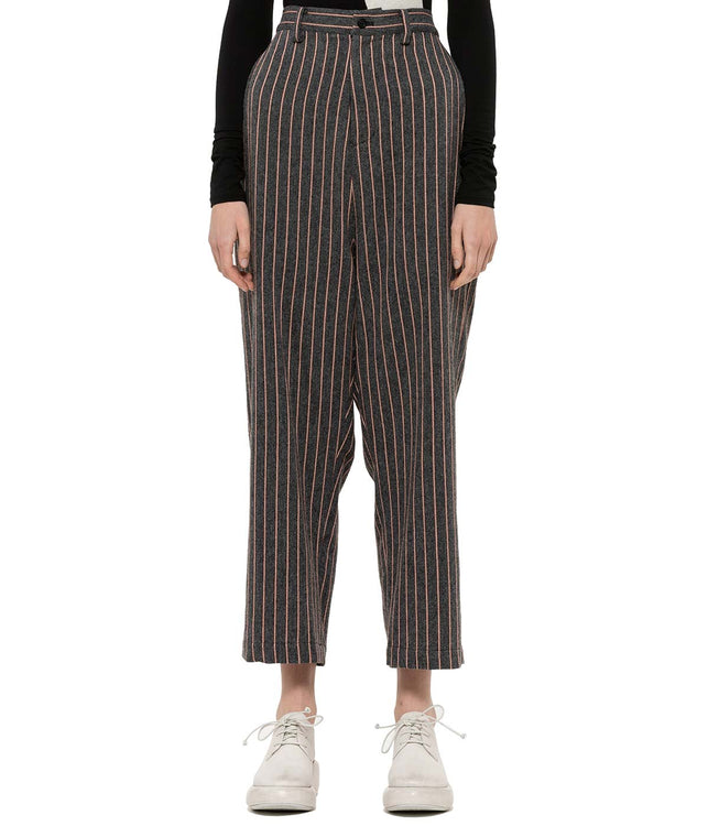 Grey Striped Wide Pants
