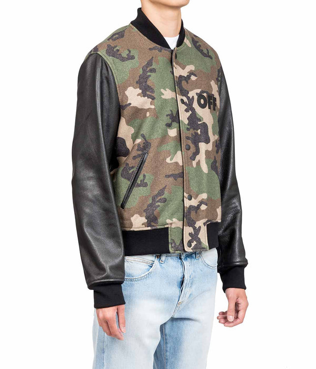 Camouflage Leather Bomber Jacket