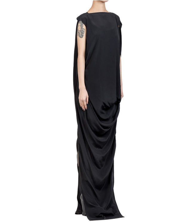 Black Nouveau Drape Dress
