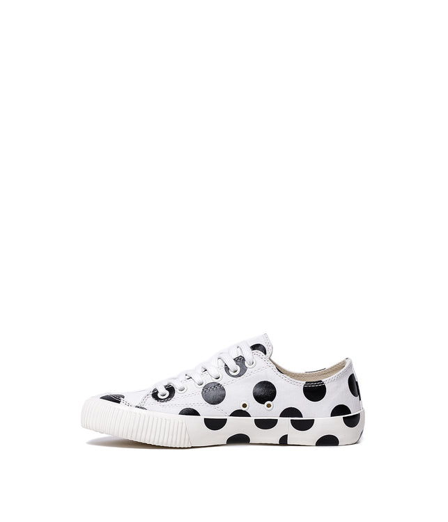 White Canvas Polka Dot Sneakers