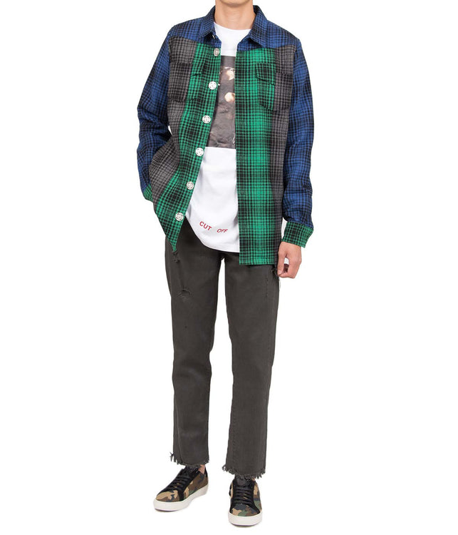 Green & Blue Patched Checked Jacket
