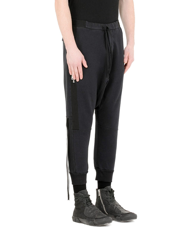 Black Drop Crotch Track Pants
