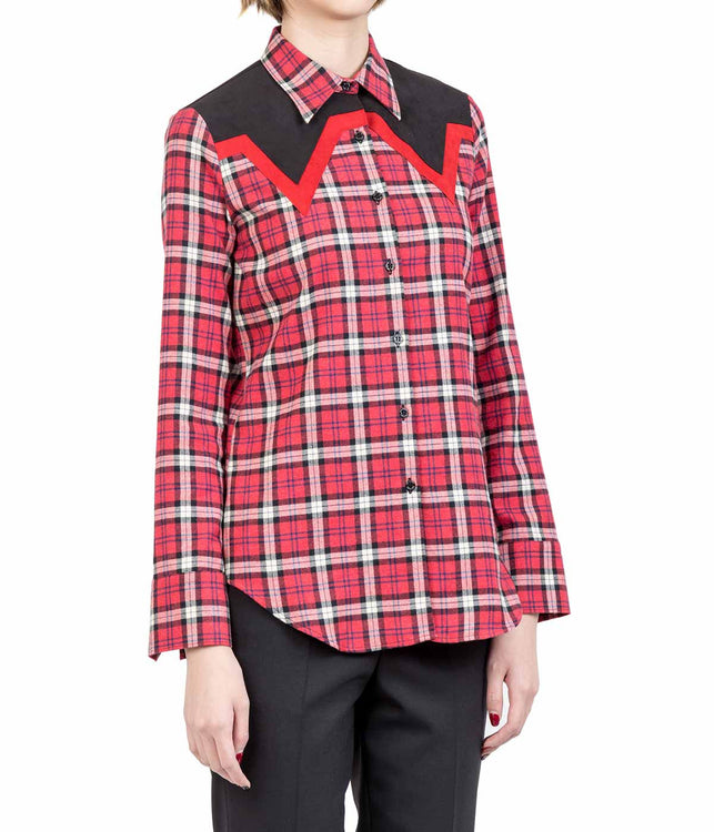 Red Slim Fit Plaid Shirt