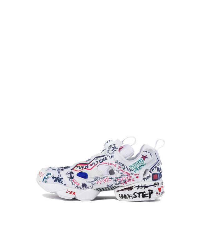 White Graffiti Insta Pump Sneakers