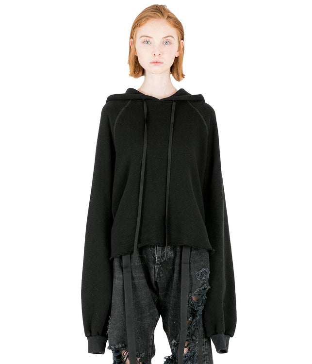 Black Cropped Cashmere Hoodie