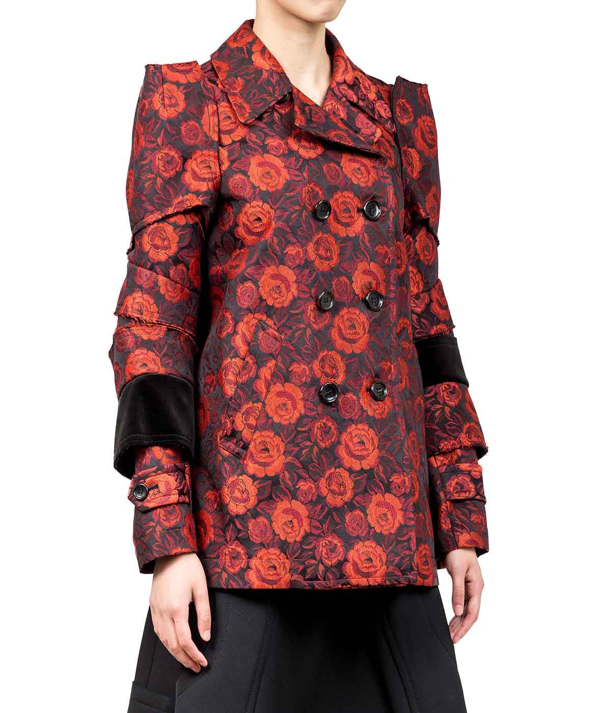 Black & Red Rose Jacquard Jacket