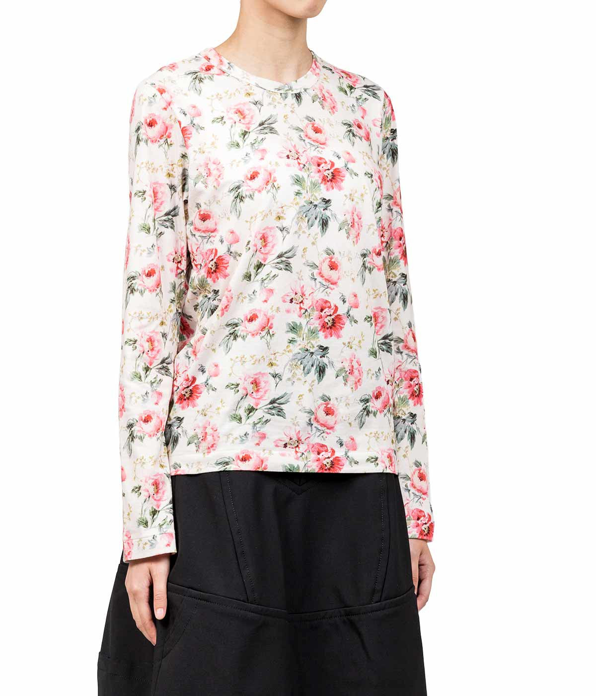 White Floral Long Sleeve Top
