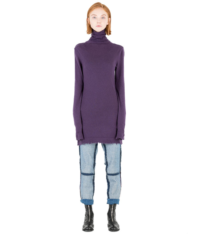 Purple Boiled Cashmere Dress
