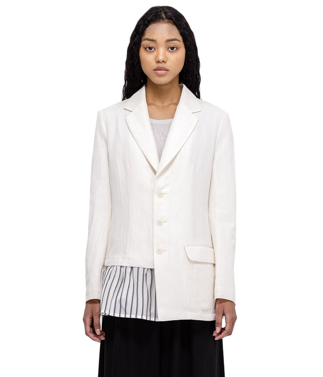 White Gather Blazer
