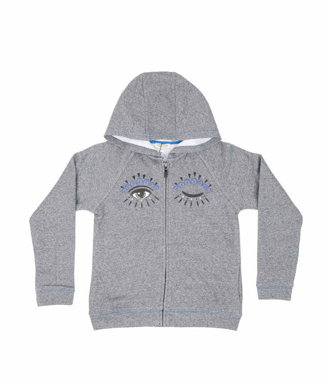 Kids Grey Zip up Eyes Hoodie